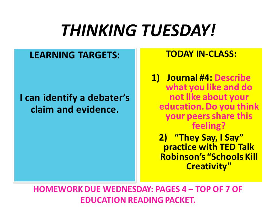 THINKING TUESDAY. LEARNING TARGETS: I can identify a debater's claim and evidence.