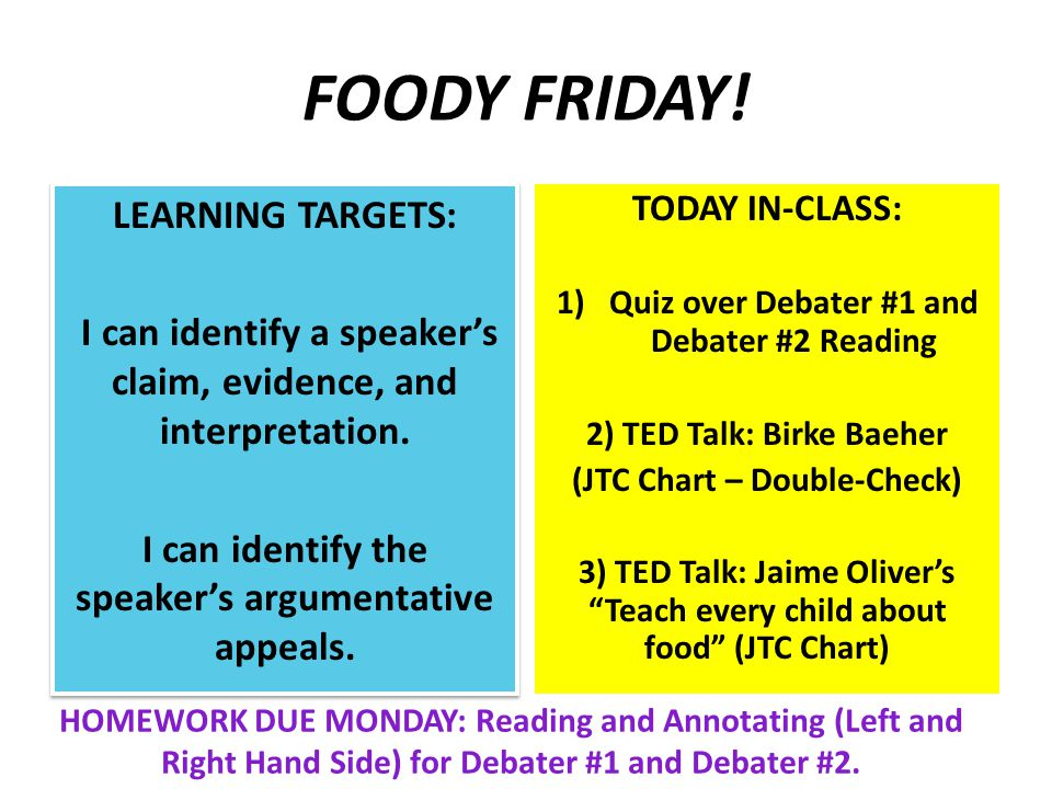 FOODY FRIDAY. LEARNING TARGETS: I can identify a speaker's claim, evidence, and interpretation.