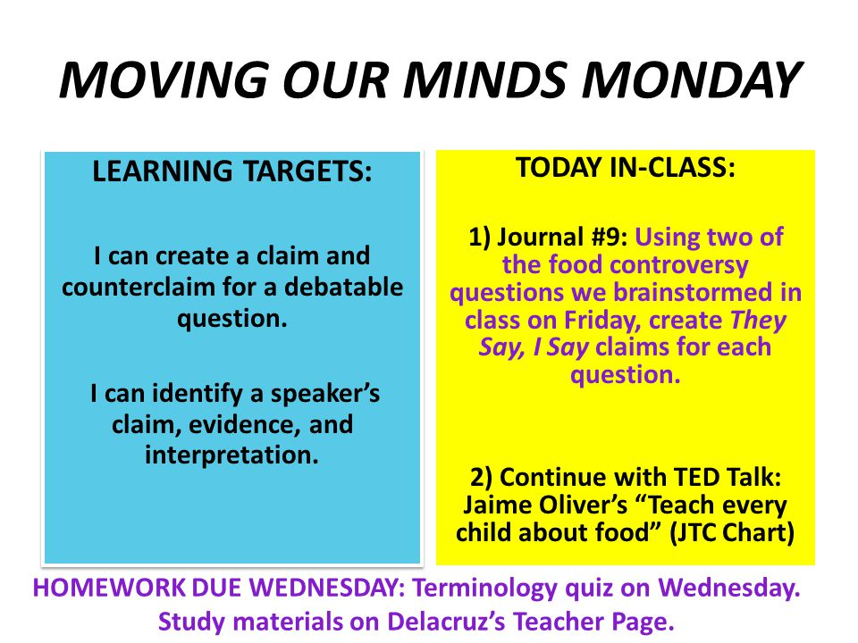 MOVING OUR MINDS MONDAY LEARNING TARGETS: I can create a claim and counterclaim for a debatable question.