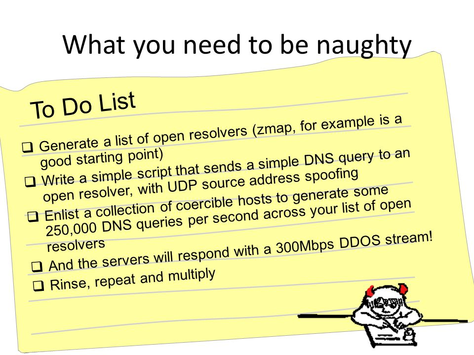What you need to be naughty  Generate a list of open resolvers (zmap, for example is a good starting point)  Write a simple script that sends a simple DNS query to an open resolver, with UDP source address spoofing  Enlist a collection of coercible hosts to generate some 250,000 DNS queries per second across your list of open resolvers  And the servers will respond with a 300Mbps DDOS stream.
