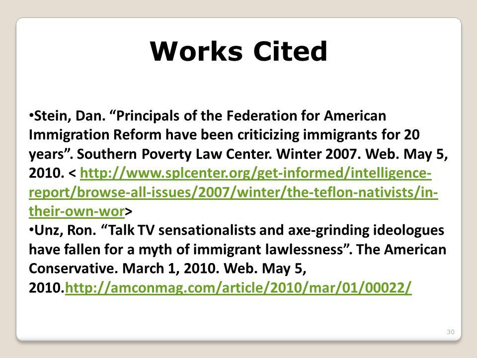 Works Cited 30 Stein, Dan.
