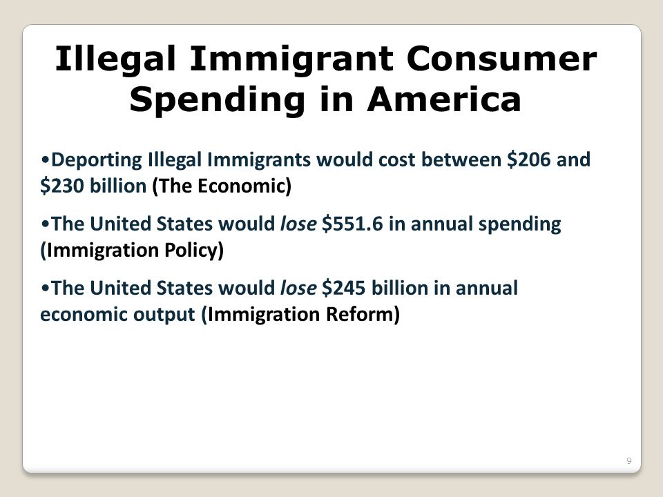 Illegal Immigrant Consumer Spending in America Deporting Illegal Immigrants would cost between $206 and $230 billion (The Economic) The United States would lose $551.6 in annual spending (Immigration Policy) The United States would lose $245 billion in annual economic output (Immigration Reform) 9