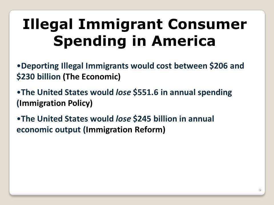 Illegal Immigrant Consumer Spending in America Deporting Illegal Immigrants would cost between $206 and $230 billion (The Economic) The United States