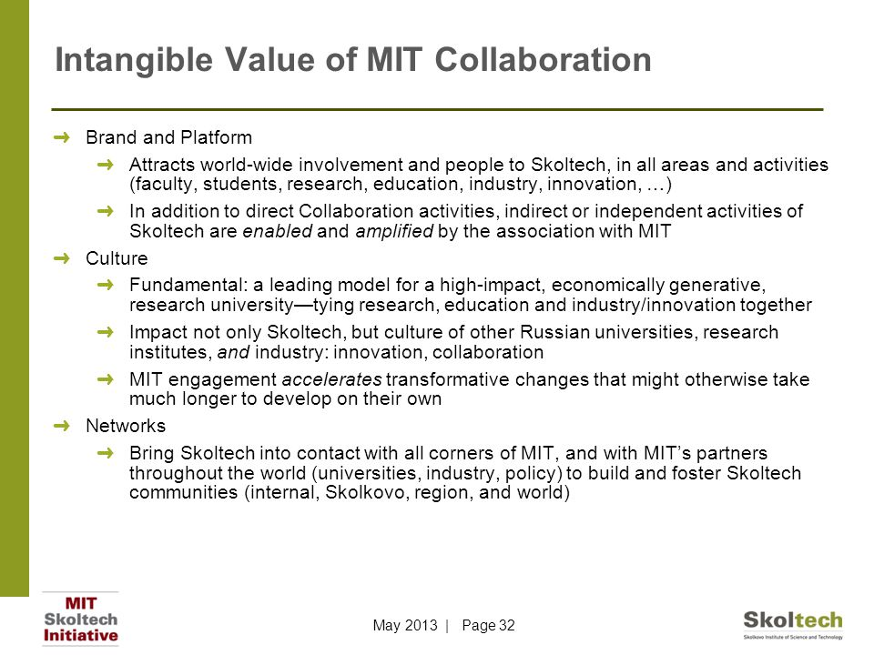 Intangible Value of MIT Collaboration ➜ Brand and Platform ➜ Attracts world-wide involvement and people to Skoltech, in all areas and activities (facu