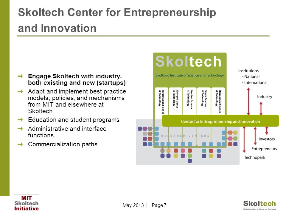 Skoltech Center for Entrepreneurship and Innovation May 2013 | Page 7 ➜ Engage Skoltech with industry, both existing and new (startups) ➜ Adapt and implement best practice models, policies, and mechanisms from MIT and elsewhere at Skoltech ➜ Education and student programs ➜ Administrative and interface functions ➜ Commercialization paths Center for Entrepreneurship and Innovation