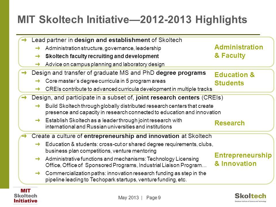 MIT Skoltech Initiative—2012-2013 Highlights ➜ Lead partner in design and establishment of Skoltech ➜ Administration structure, governance, leadership