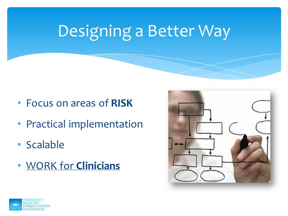 Designing a Better Way Focus on areas of RISK Practical implementation Scalable WORK for Clinicians
