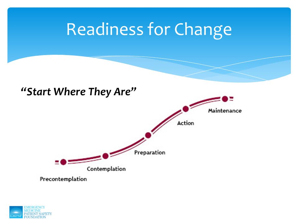 Readiness for Change Start Where They Are