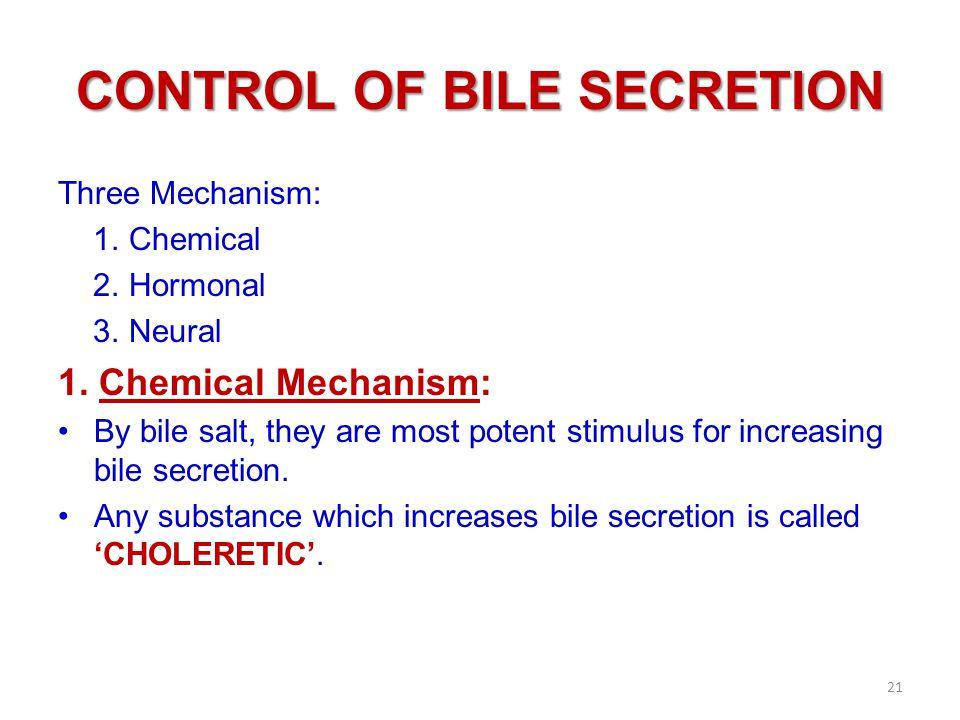 CONTROL OF BILE SECRETION Three Mechanism: 1.Chemical 2.