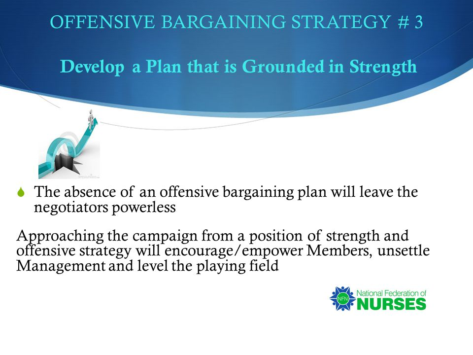 OFFENSIVE BARGAINING STRATEGY # 3 Develop a Plan that is Grounded in Strength  The absence of an offensive bargaining plan will leave the negotiators powerless Approaching the campaign from a position of strength and offensive strategy will encourage/empower Members, unsettle Management and level the playing field