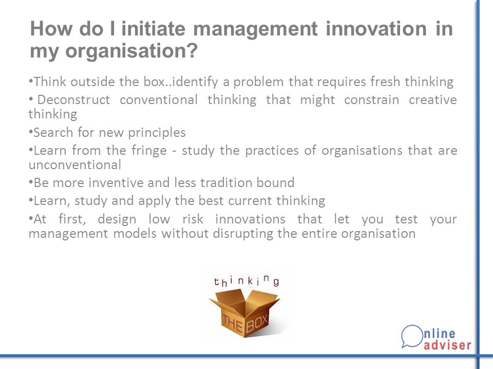 How do I initiate management innovation in my organisation.