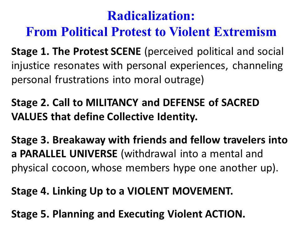 Radicalization: From Political Protest to Violent Extremism Stage 1.
