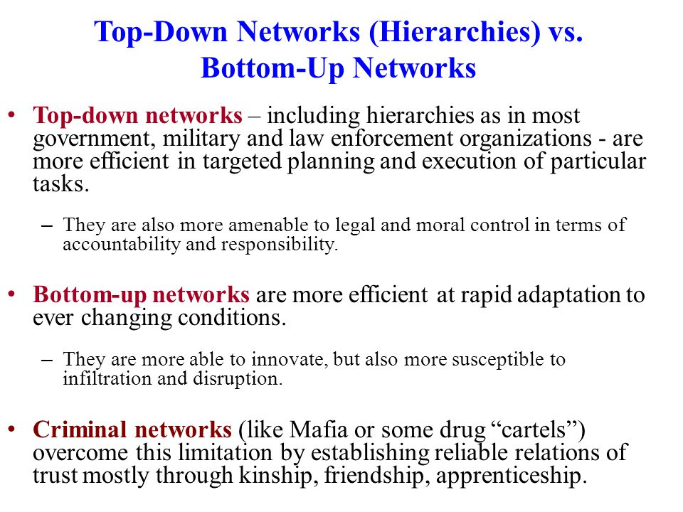 Top-Down Networks (Hierarchies) vs.