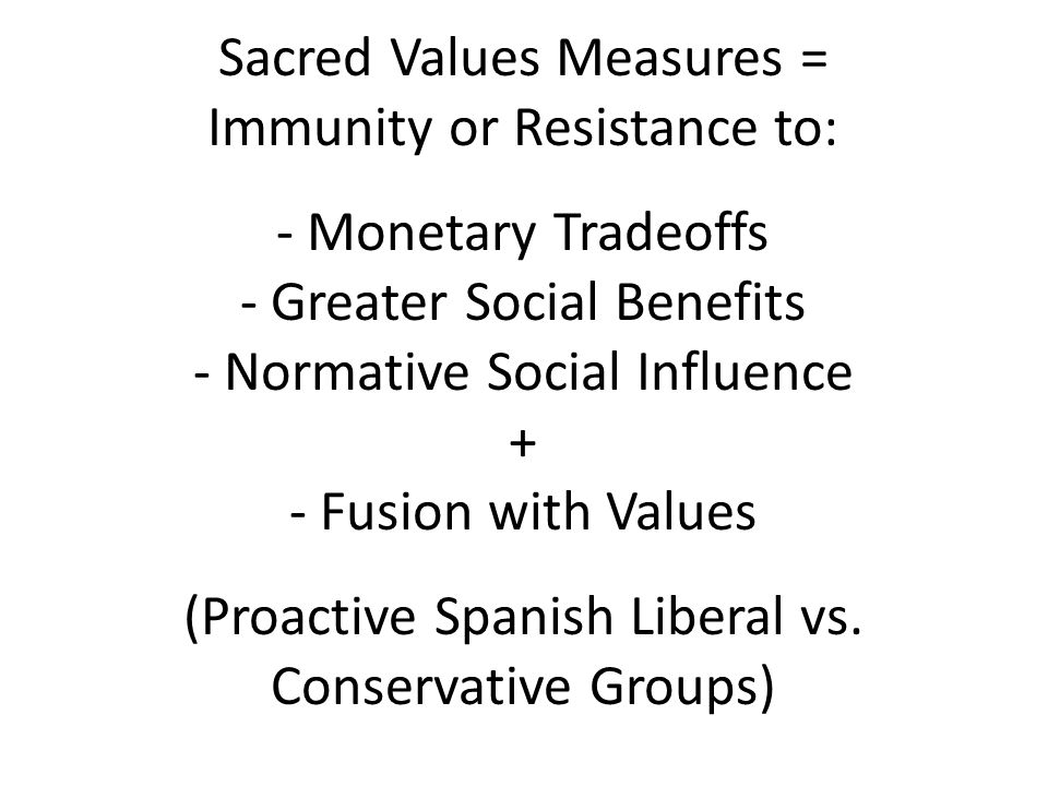 Sacred Values Measures = Immunity or Resistance to: - Monetary Tradeoffs - Greater Social Benefits - Normative Social Influence + - Fusion with Values (Proactive Spanish Liberal vs.