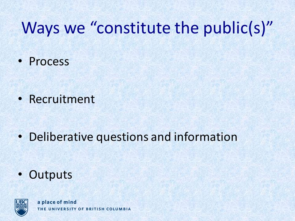 Ways we constitute the public(s) Process Recruitment Deliberative questions and information Outputs