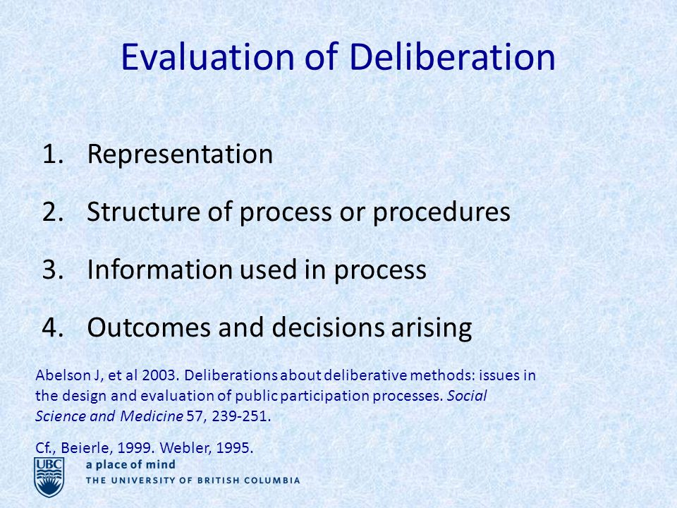 Evaluation of Deliberation 1.Representation 2.Structure of process or procedures 3.Information used in process 4.Outcomes and decisions arising Abelson J, et al 2003.