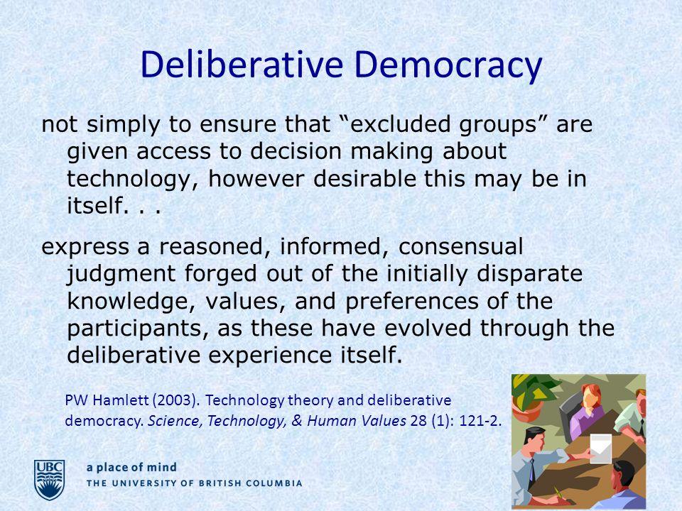 Deliberative Democracy PW Hamlett (2003). Technology theory and deliberative democracy.