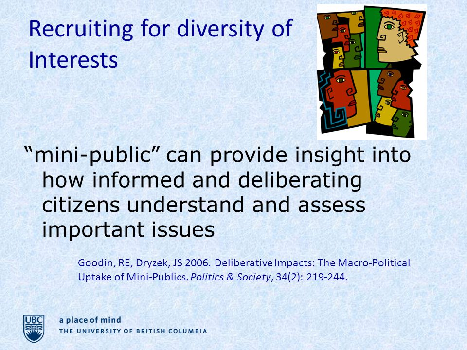 Recruiting for diversity of Interests Goodin, RE, Dryzek, JS 2006.