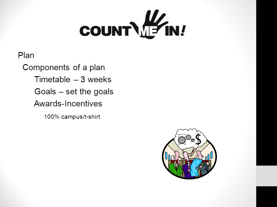 Plan Components of a plan Timetable – 3 weeks Goals – set the goals Awards-Incentives 100% campus/t-shirt