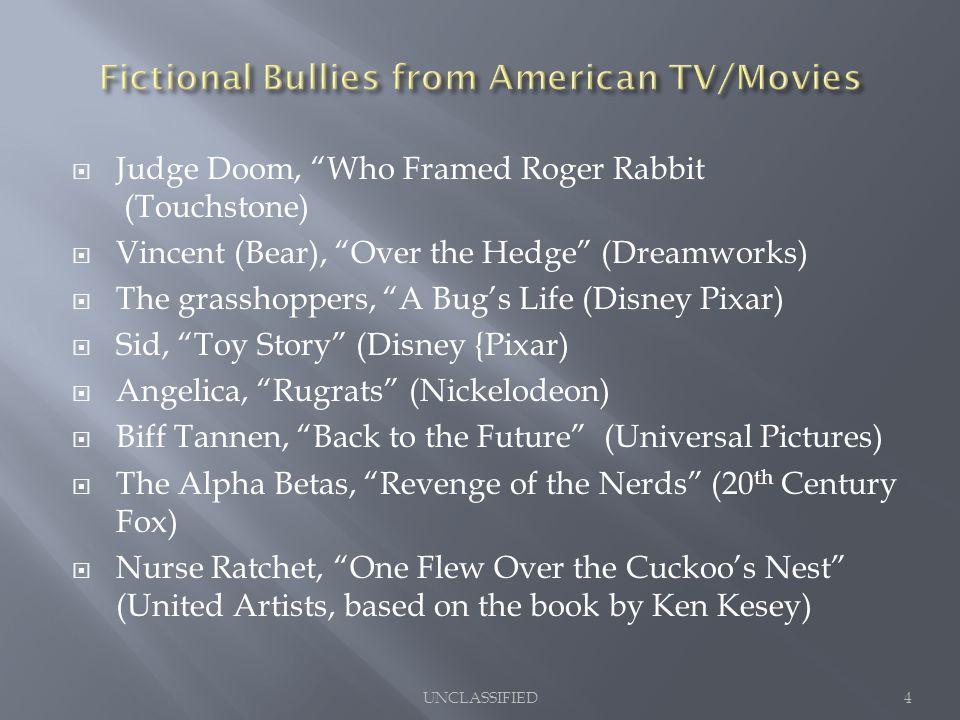 " Judge Doom, ""Who Framed Roger Rabbit (Touchstone)  Vincent (Bear), ""Over the Hedge"" (Dreamworks)  The grasshoppers, ""A Bug's Life (Disney Pixar) "