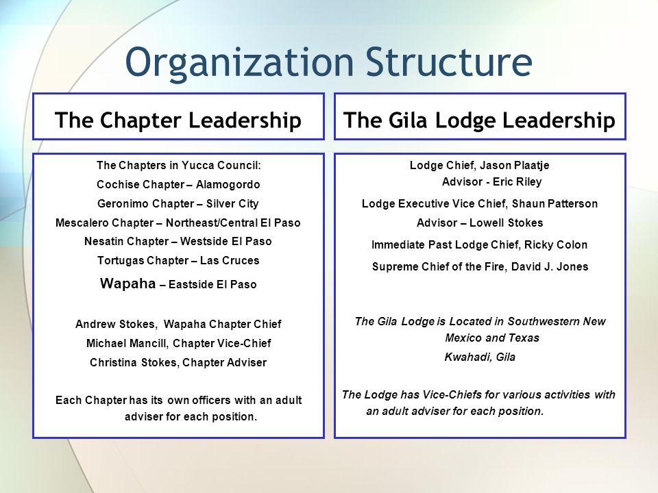 Organization Structure The Gila Lodge Leadership Lodge Chief, Jason Plaatje Advisor - Eric Riley Lodge Executive Vice Chief, Shaun Patterson Advisor – Lowell Stokes Immediate Past Lodge Chief, Ricky Colon Supreme Chief of the Fire, David J.