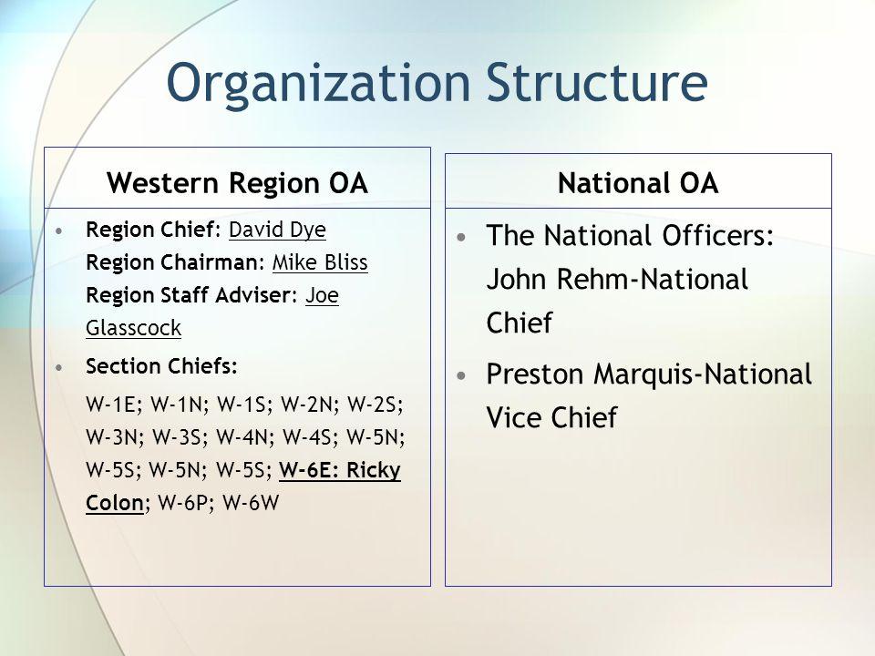 Organization Structure Western Region OA Region Chief: David Dye Region Chairman: Mike Bliss Region Staff Adviser: Joe Glasscock Section Chiefs: W-1E; W-1N; W-1S; W-2N; W-2S; W-3N; W-3S; W-4N; W-4S; W-5N; W-5S; W-5N; W-5S; W-6E: Ricky Colon; W-6P; W-6W National OA The National Officers: John Rehm-National Chief Preston Marquis-National Vice Chief