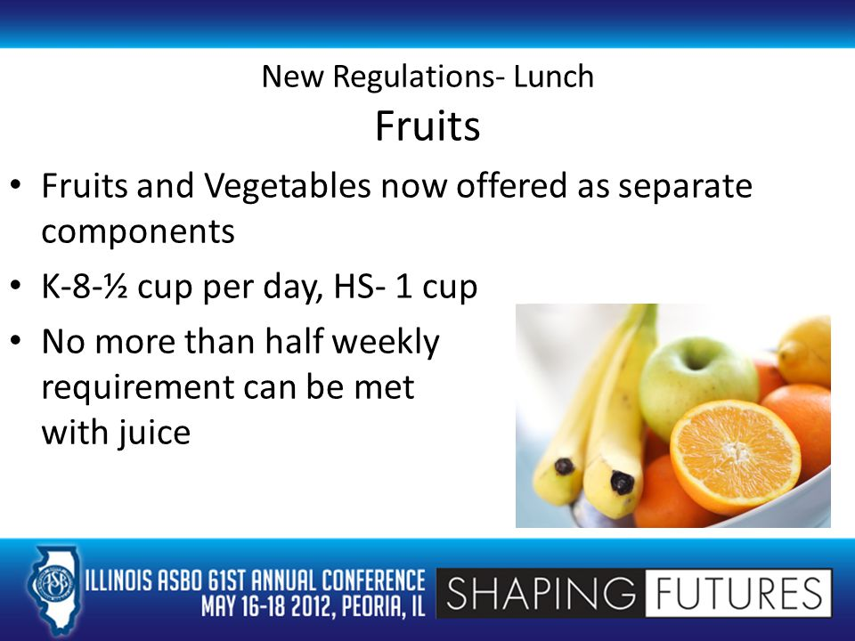 New Regulations- Lunch Fruits Fruits and Vegetables now offered as separate components K-8-½ cup per day, HS- 1 cup No more than half weekly requirement can be met with juice