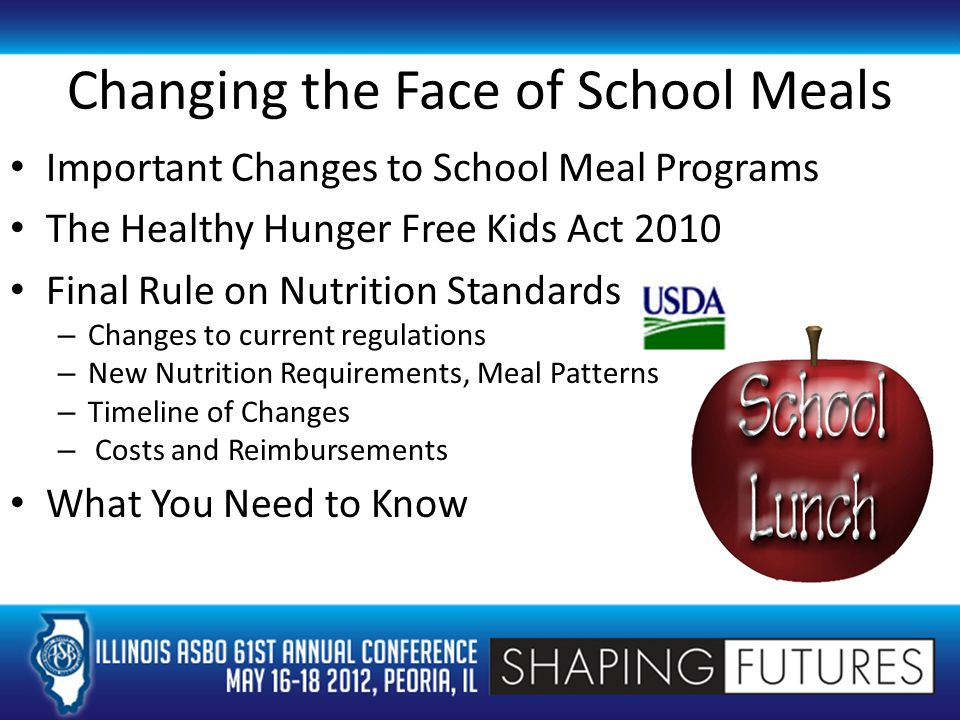Changing the Face of School Meals Important Changes to School Meal Programs The Healthy Hunger Free Kids Act 2010 Final Rule on Nutrition Standards – Changes to current regulations – New Nutrition Requirements, Meal Patterns – Timeline of Changes – Costs and Reimbursements What You Need to Know