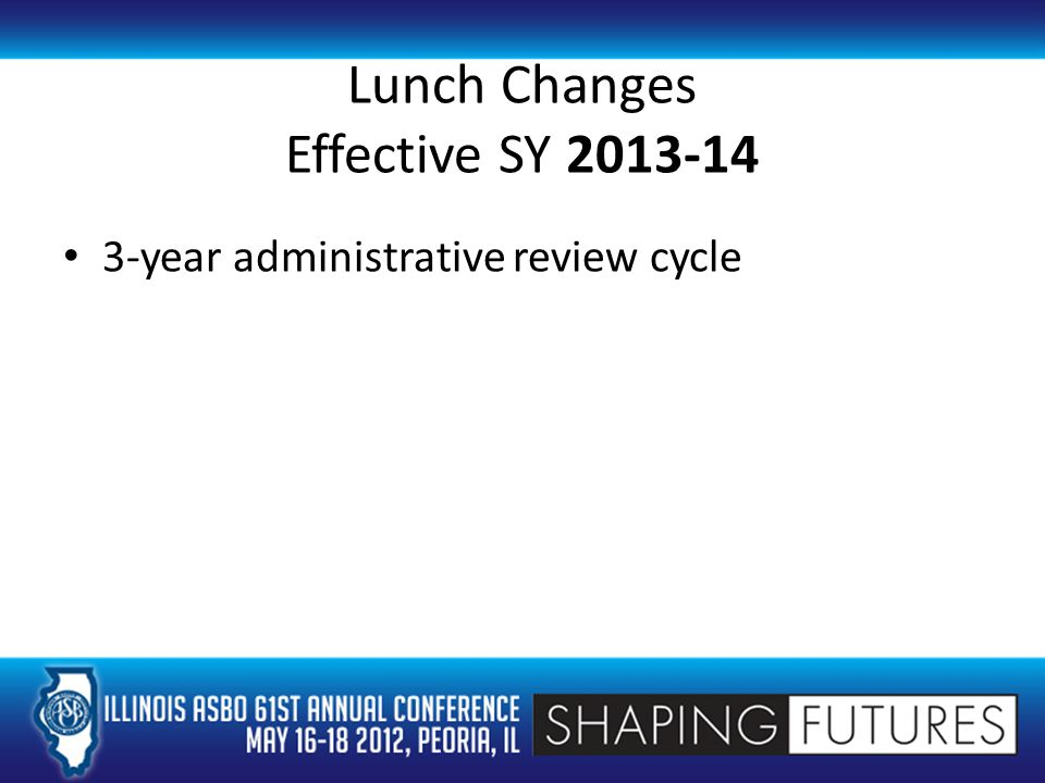 Lunch Changes Effective SY 2013-14 3-year administrative review cycle