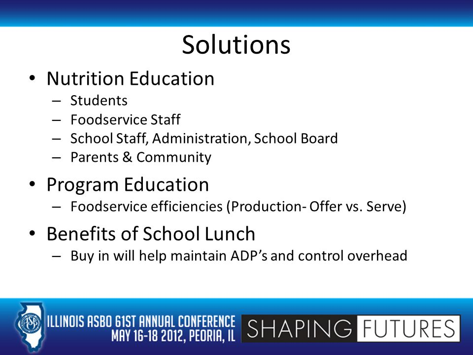 Solutions Nutrition Education – Students – Foodservice Staff – School Staff, Administration, School Board – Parents & Community Program Education – Foodservice efficiencies (Production- Offer vs.