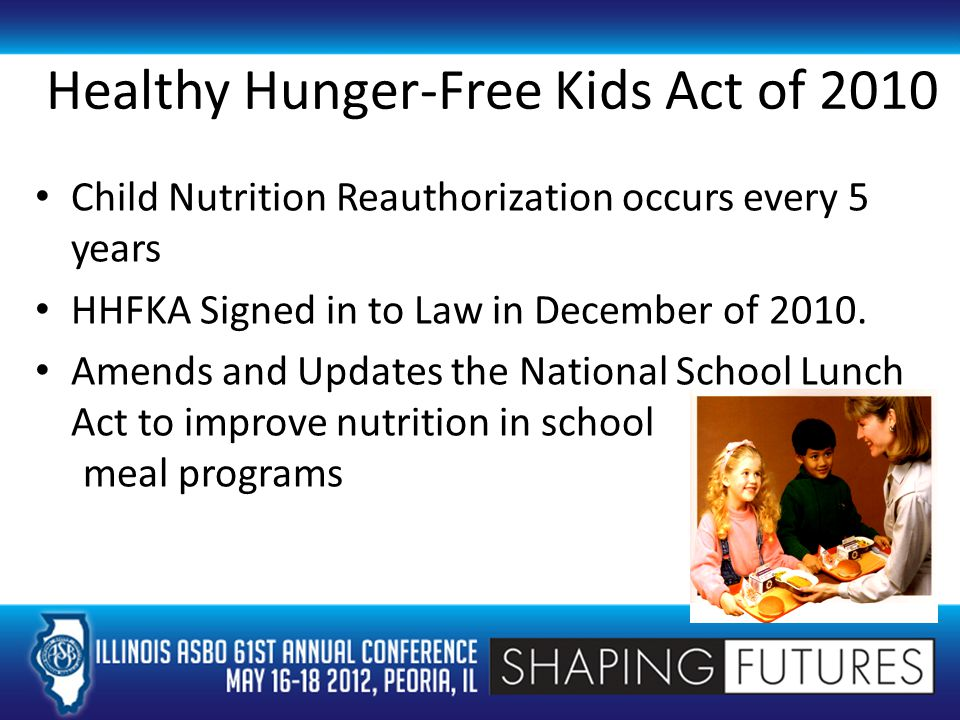 Healthy Hunger-Free Kids Act of 2010 Child Nutrition Reauthorization occurs every 5 years HHFKA Signed in to Law in December of 2010.