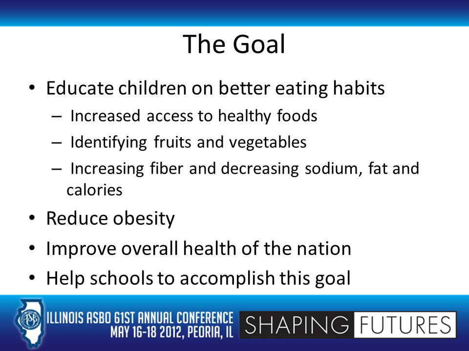 The Goal Educate children on better eating habits – Increased access to healthy foods – Identifying fruits and vegetables – Increasing fiber and decreasing sodium, fat and calories Reduce obesity Improve overall health of the nation Help schools to accomplish this goal