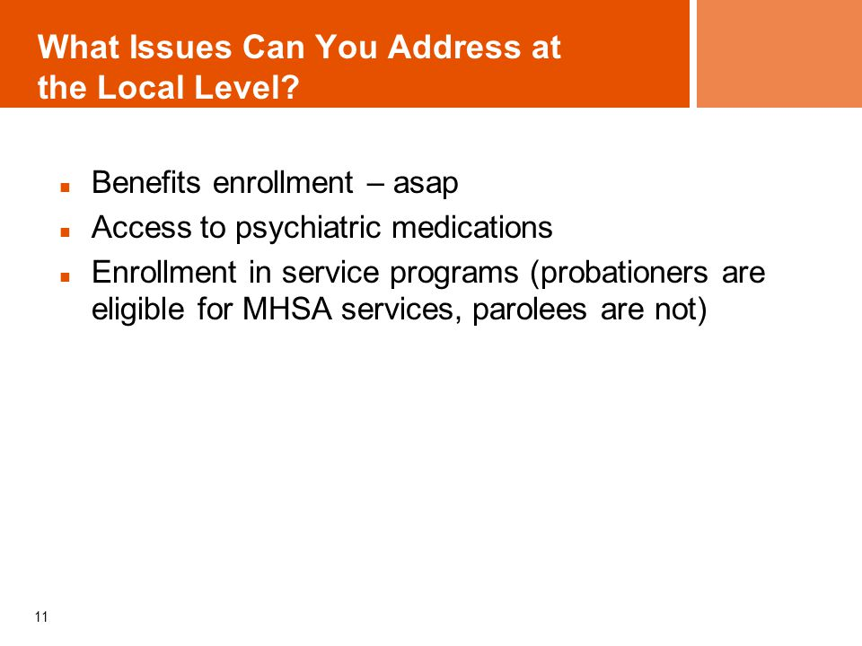 What Issues Can You Address at the Local Level? Benefits enrollment – asap Access to psychiatric medications Enrollment in service programs (probation