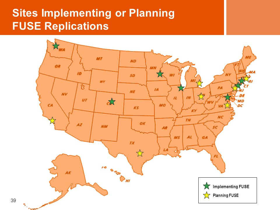 Sites Implementing or Planning FUSE Replications 39 Implementing FUSE Planning FUSE