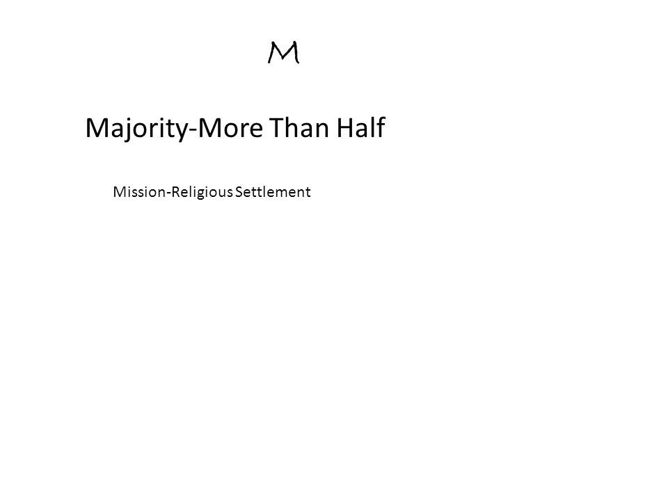 M Majority-More Than Half Mission-Religious Settlement