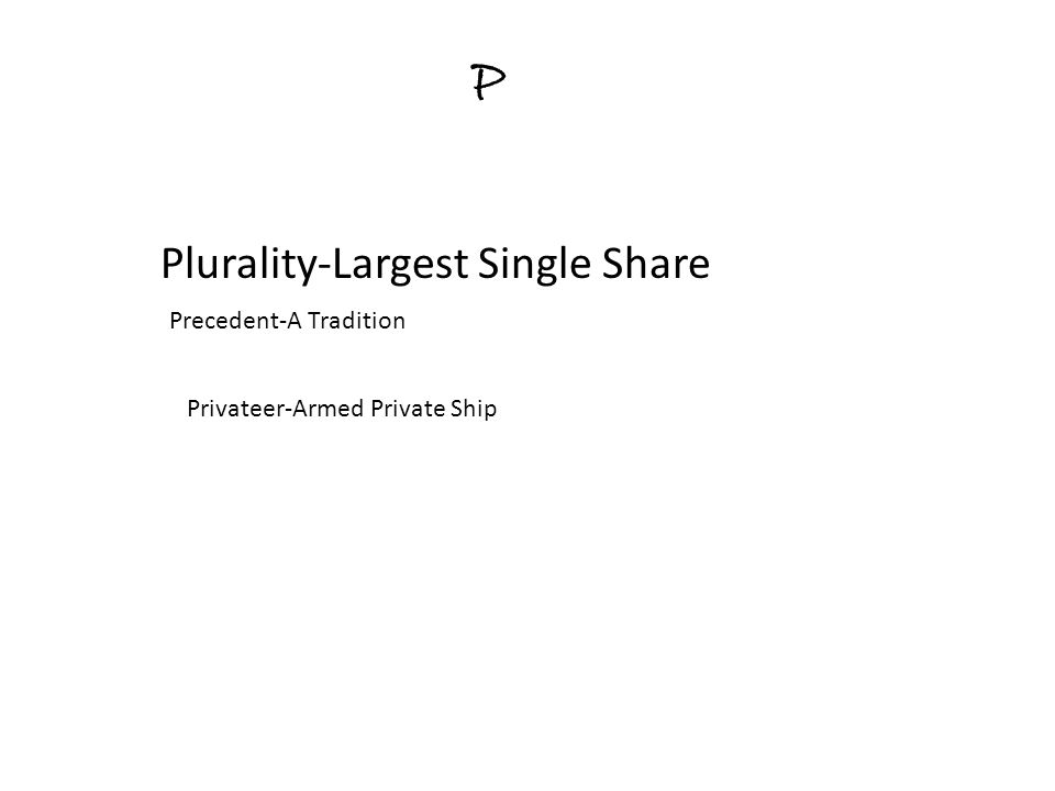 P Plurality-Largest Single Share Precedent-A Tradition Privateer-Armed Private Ship