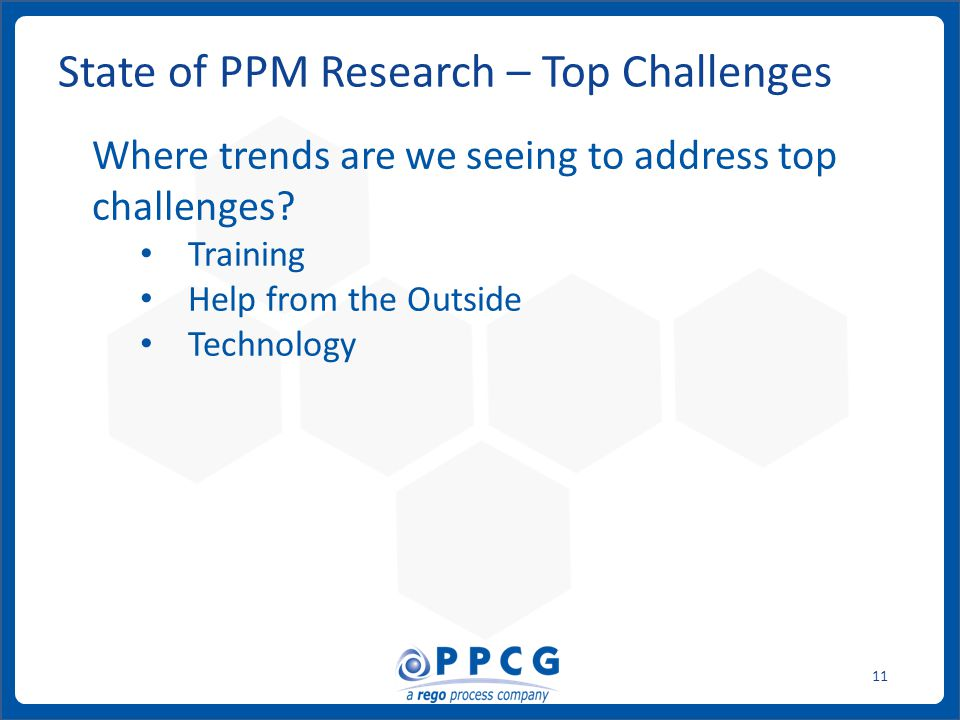 ppmprocessconsulting.com1.888.998.0539 11 State of PPM Research – Top Challenges Where trends are we seeing to address top challenges.