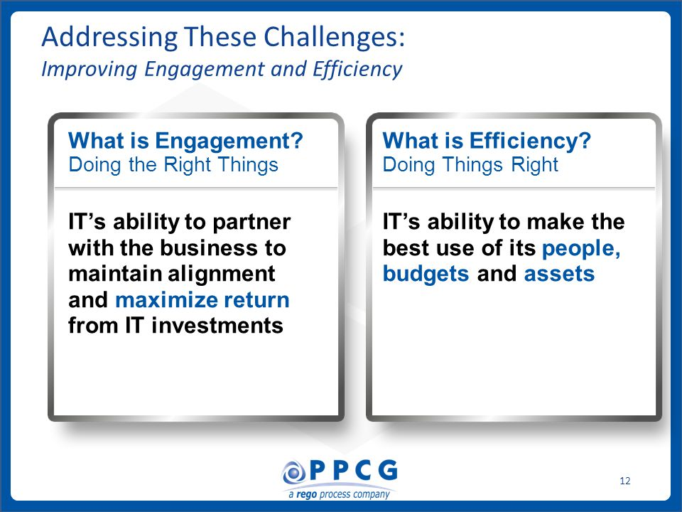 ppmprocessconsulting.com1.888.998.0539 12 Addressing These Challenges: Improving Engagement and Efficiency What is Engagement? Doing the Right Things