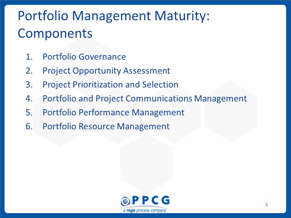 ppmprocessconsulting.com1.888.998.0539 5 Portfolio Management Maturity: Components 1.Portfolio Governance 2.Project Opportunity Assessment 3.Project Prioritization and Selection 4.Portfolio and Project Communications Management 5.Portfolio Performance Management 6.Portfolio Resource Management