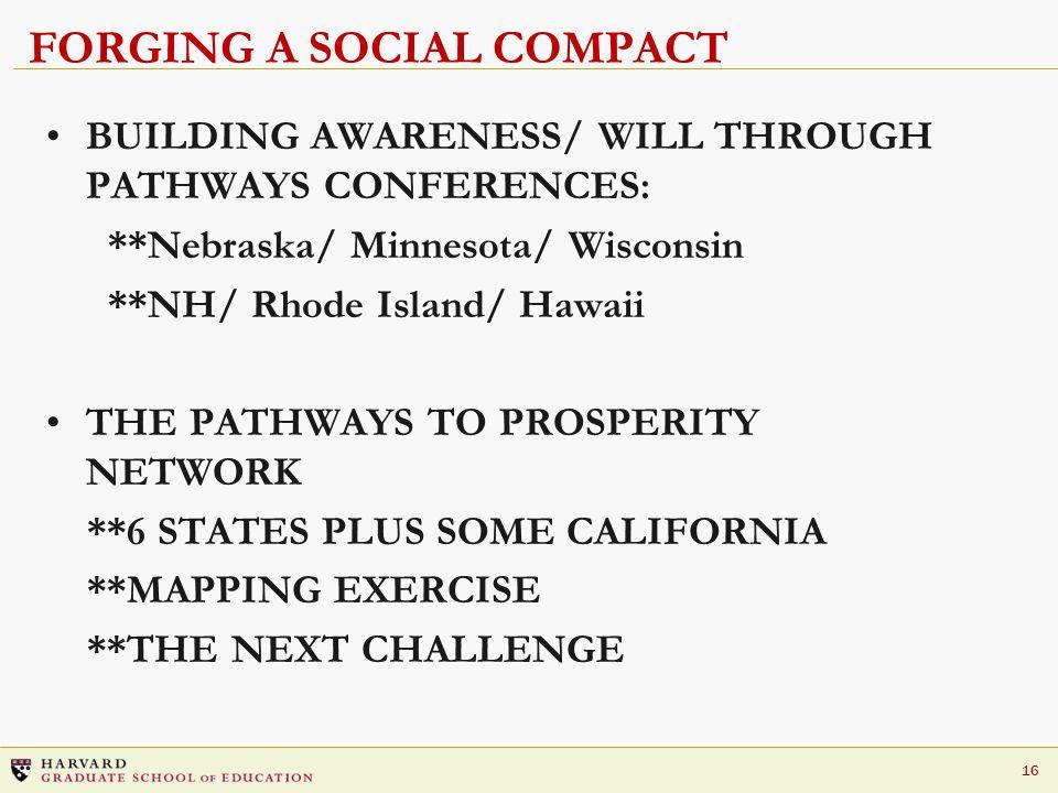 16 FORGING A SOCIAL COMPACT BUILDING AWARENESS/ WILL THROUGH PATHWAYS CONFERENCES: **Nebraska/ Minnesota/ Wisconsin **NH/ Rhode Island/ Hawaii THE PAT