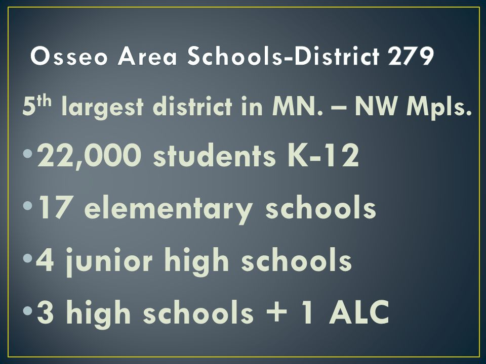 5 th largest district in MN. – NW Mpls. 22,000 students K-12 17 elementary schools 4 junior high schools 3 high schools + 1 ALC