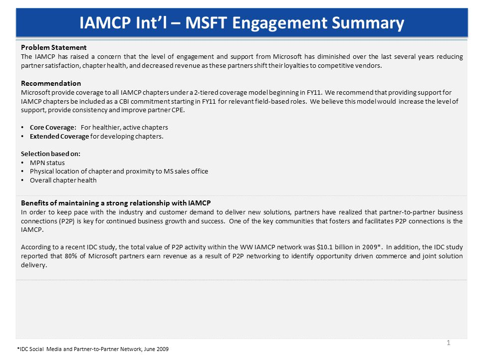 1 IAMCP Int'l – MSFT Engagement Summary Problem Statement The IAMCP has raised a concern that the level of engagement and support from Microsoft has diminished over the last several years reducing partner satisfaction, chapter health, and decreased revenue as these partners shift their loyalties to competitive vendors.