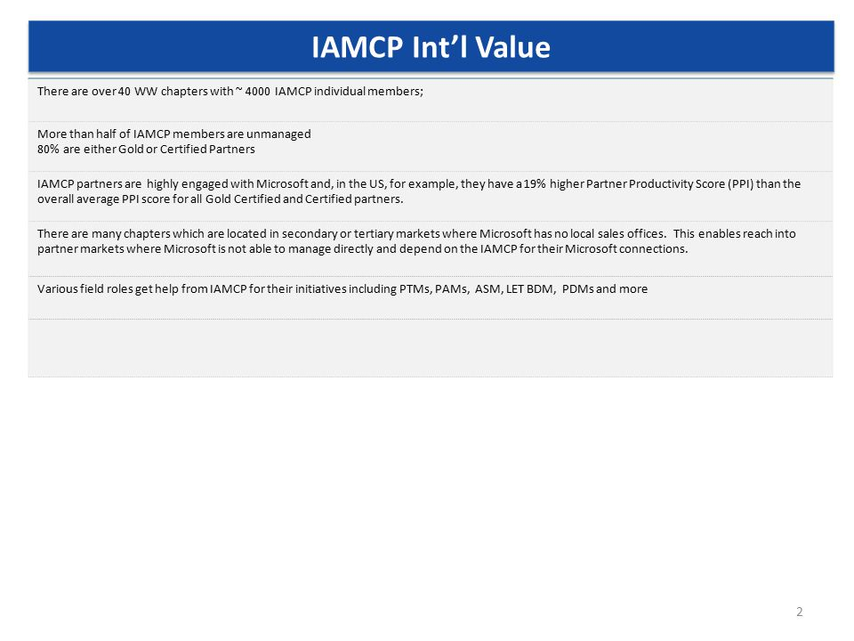 2 There are over 40 WW chapters with ~ 4000 IAMCP individual members; More than half of IAMCP members are unmanaged 80% are either Gold or Certified P