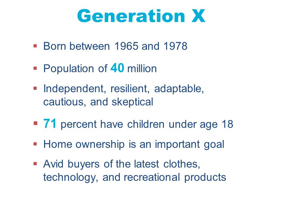 Chapter 4 Copyright ©2012 by Cengage Learning Inc. All rights reserved 20 Generation X  Born between 1965 and 1978  Population of 40 million  Indep