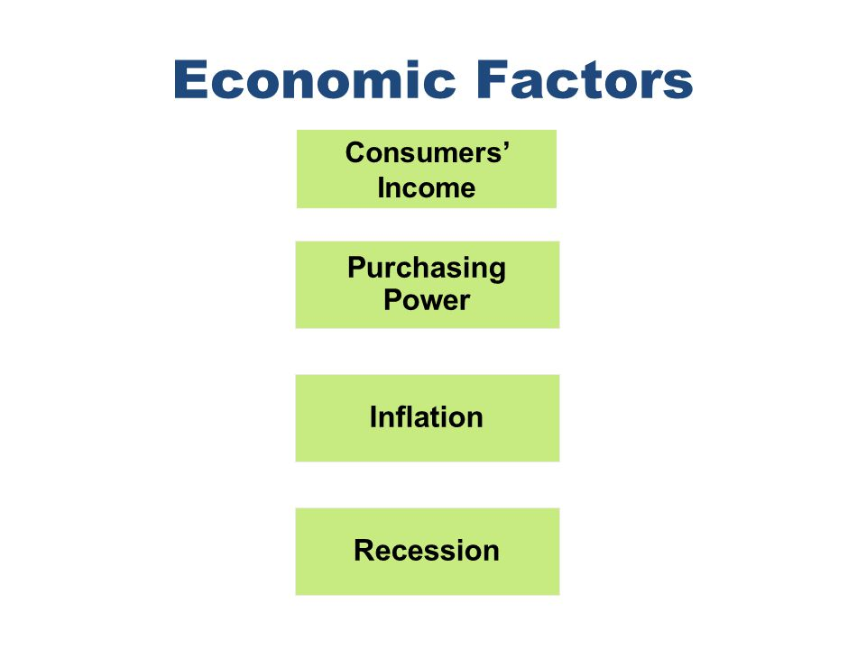 Chapter 4 Copyright ©2012 by Cengage Learning Inc. All rights reserved 28 Economic Factors Purchasing Power Inflation Recession Consumers' Income