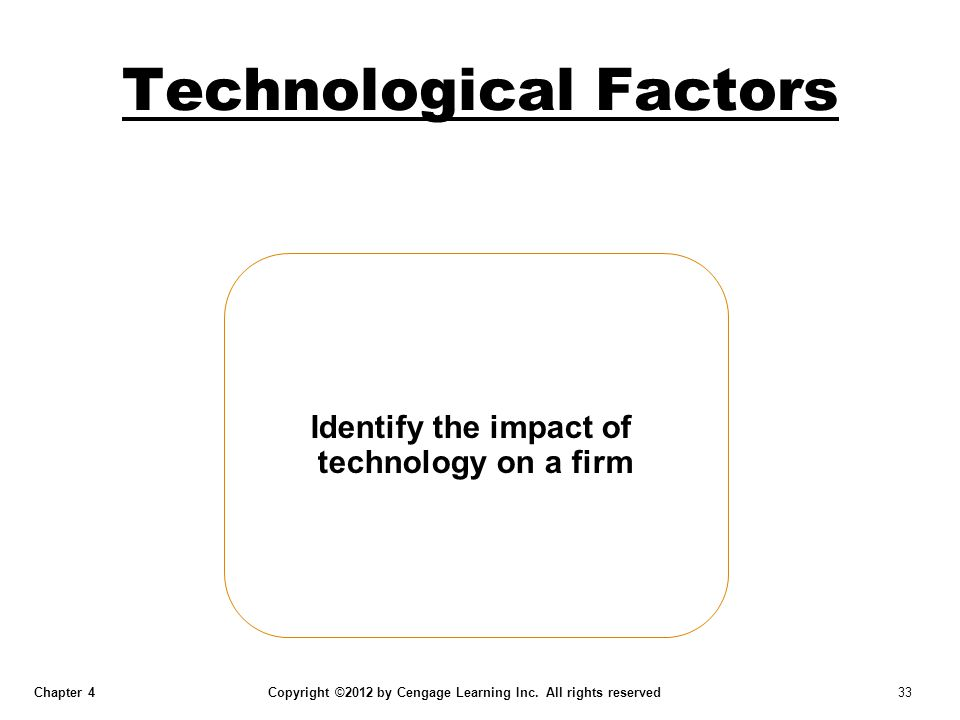 Chapter 4 Copyright ©2012 by Cengage Learning Inc. All rights reserved 33 Technological Factors Identify the impact of technology on a firm