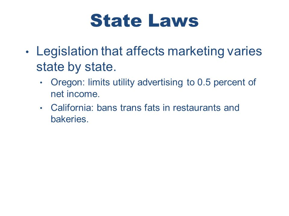 Chapter 4 Copyright ©2012 by Cengage Learning Inc. All rights reserved 39 State Laws Legislation that affects marketing varies state by state. Oregon: