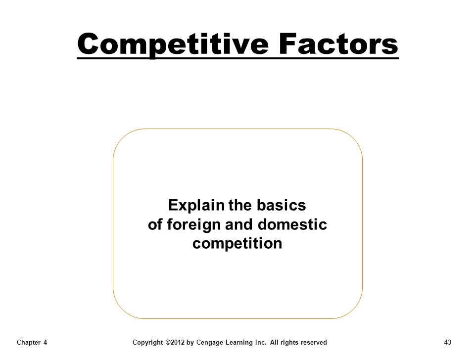 Chapter 4 Copyright ©2012 by Cengage Learning Inc. All rights reserved 43 Competitive Factors Explain the basics of foreign and domestic competition