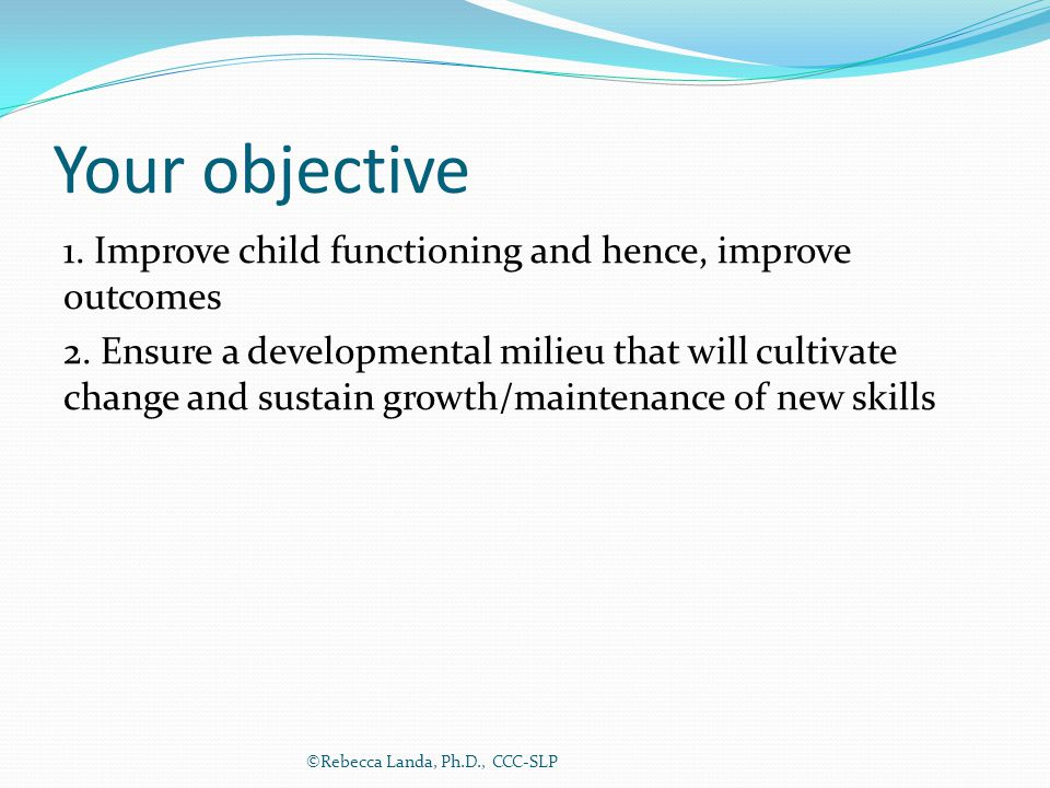 Your objective 1. Improve child functioning and hence, improve outcomes 2. Ensure a developmental milieu that will cultivate change and sustain growth