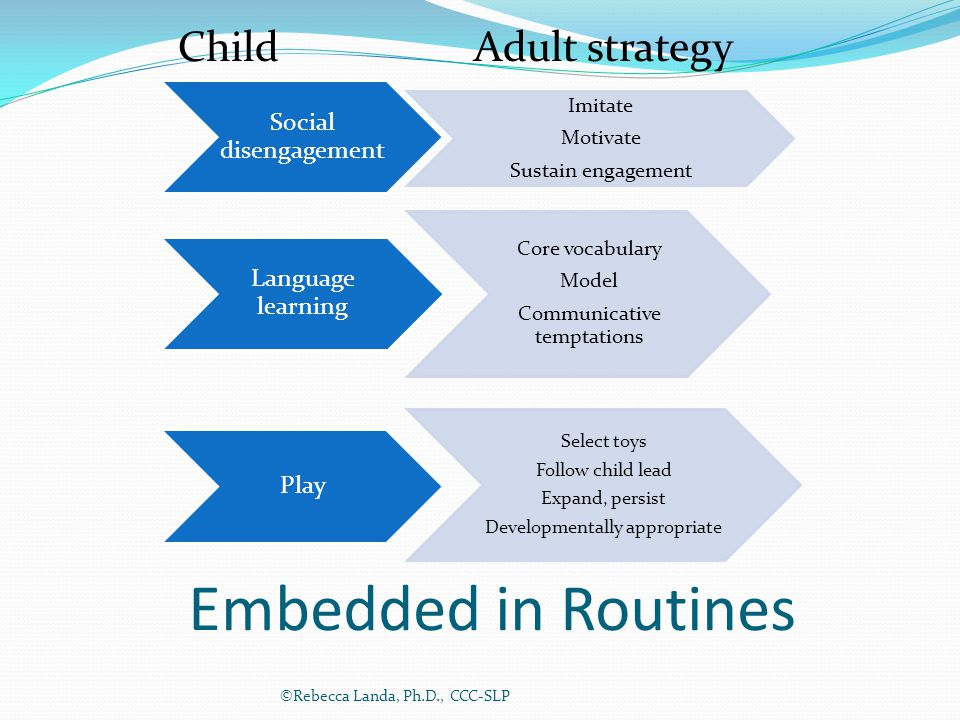 Embedded in Routines Social disengagement Imitate Motivate Sustain engagement Language learning Core vocabulary Model Communicative temptations Play S